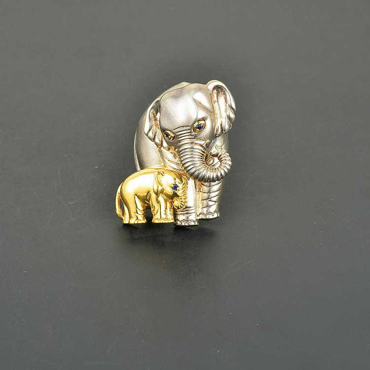 Tiffany&Co; 18K & Sterling Silver Mother & Calf Elephant Brooch