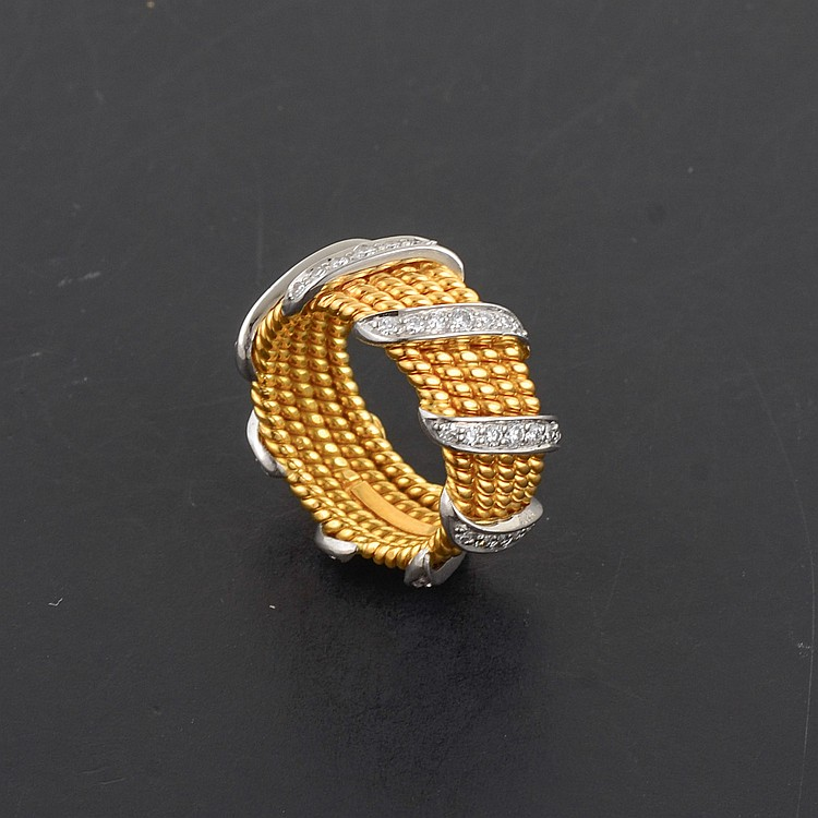 Tiffany & Co; Schlumberger 18K Two-Tone Ring