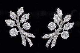 Vintage Van Cleef & Arpels Platinum Diamond Earrings