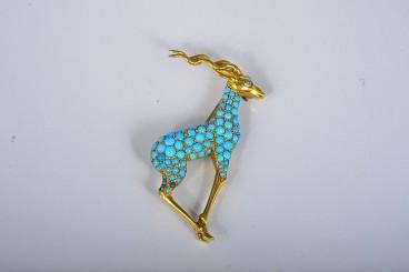 Van Cleef & Arpels 18K Diamond & Turquoise Antelope Brooch