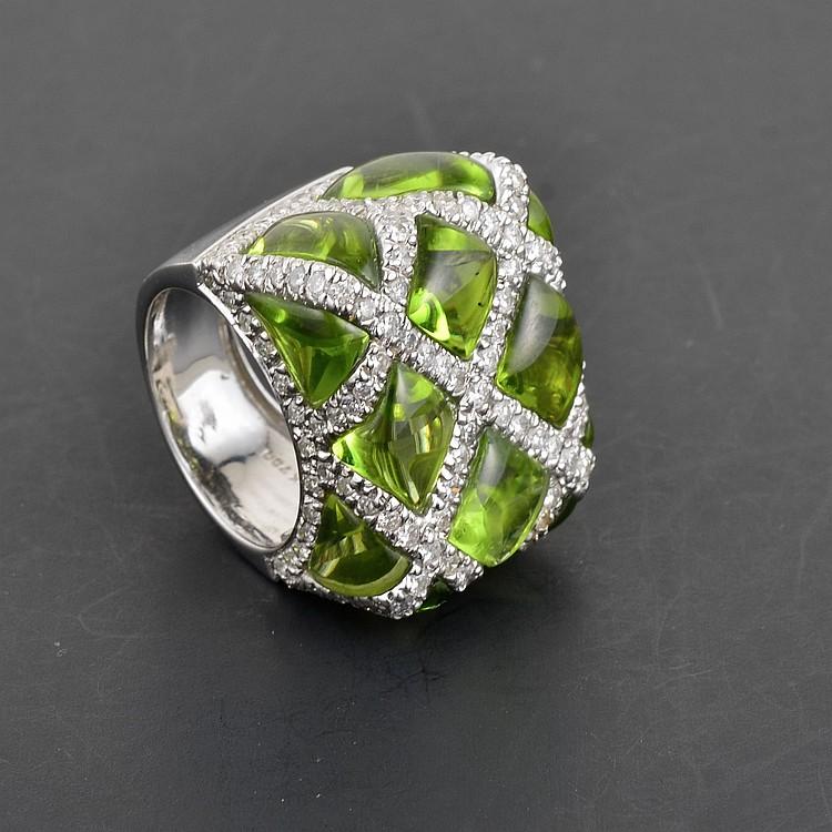 Peridot Cabochons & Diamond Ring Possibly by Bellari