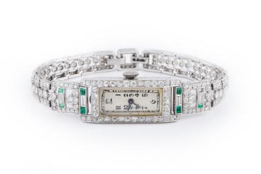 Art Deco Platinum Diamond and Emerald Ladies' Watch