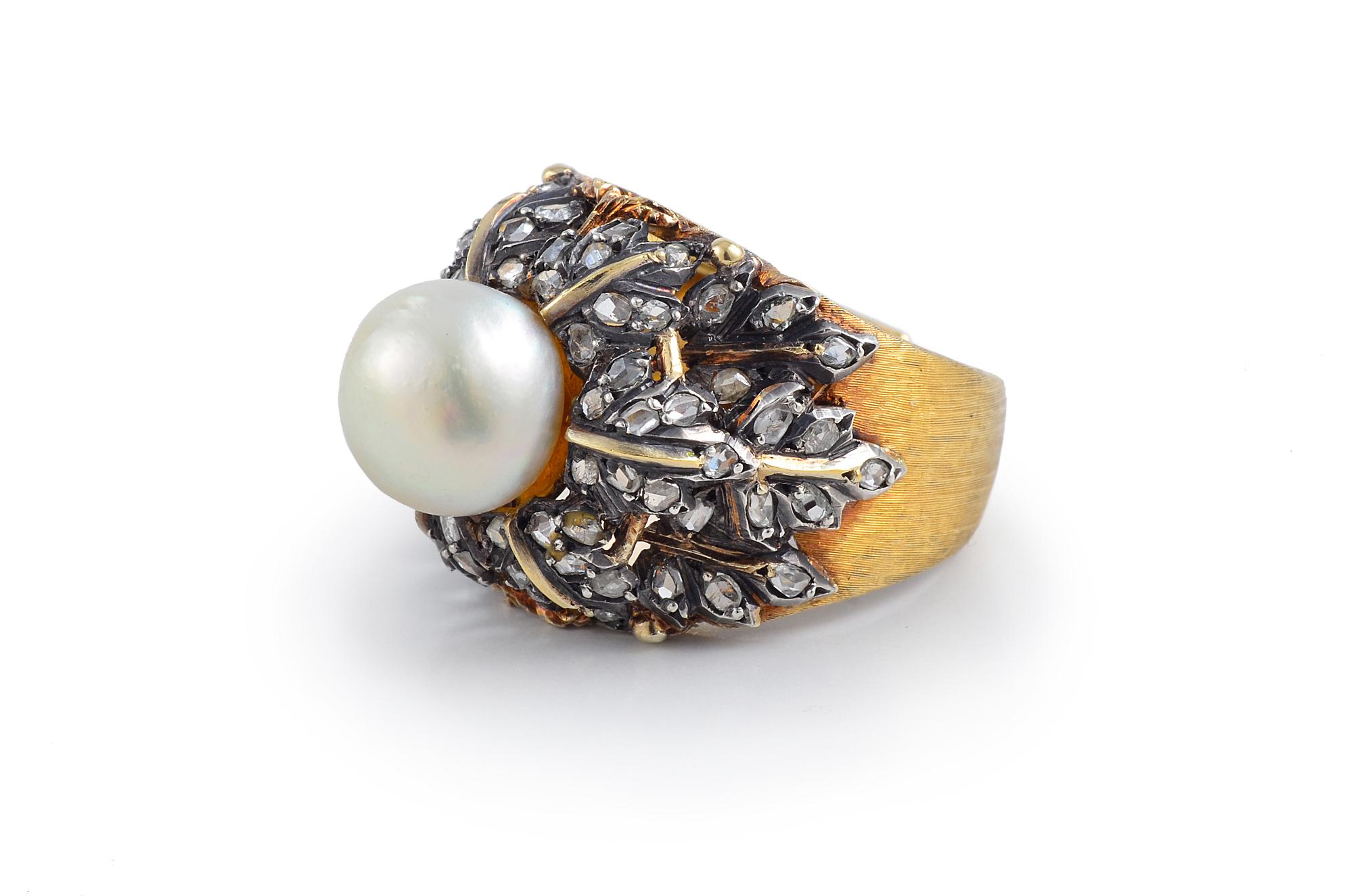 Buccellati Diamond and Pearl Ring