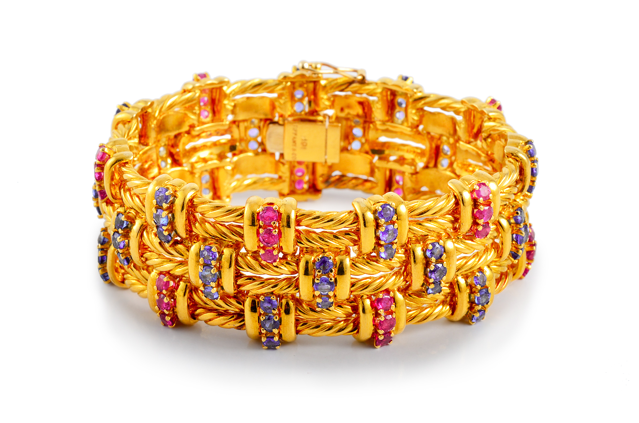 Tiffany Ruby and Sapphire Gold Bracelet
