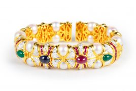 Gem Stone Pearl Gold Bangle