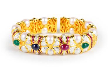 Gem Stone Pearl Gold Bangle