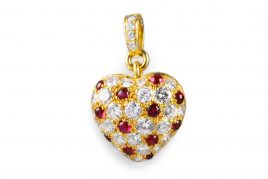 Cartier Diamond Ruby Heart Pendant