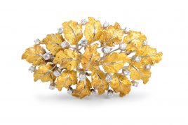 Buccellati Diamond Leaf Brooch
