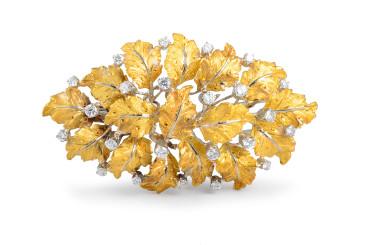 Buccellati Diamond Leaf Brooch