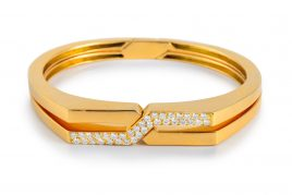 Van Cleef & Arpels Diamond Interlocking Gold Bangles