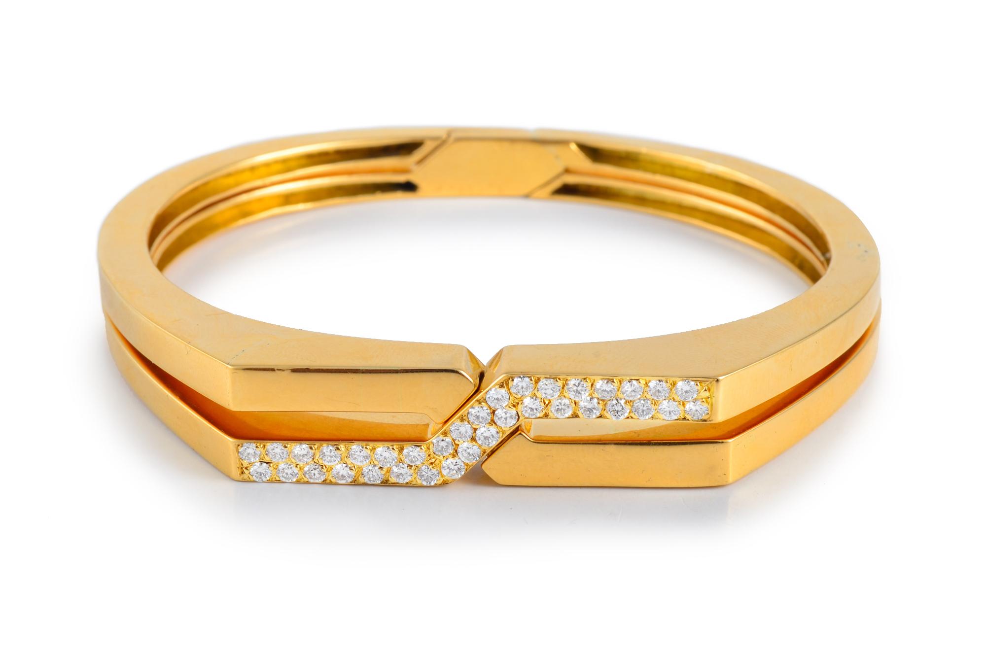 Van Cleef & Arpels Diamond Interlocking Gold Bangles