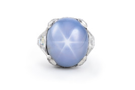 Art Deco Platinum and Diamond Star Sapphire Ring