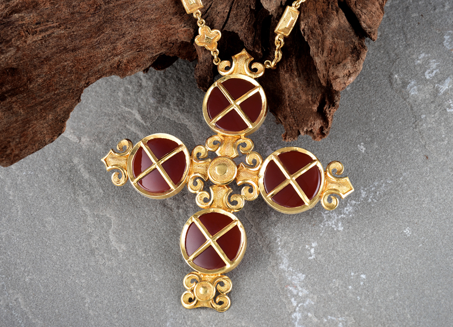 Lalaounis Gold Carnelian Cross Necklace
