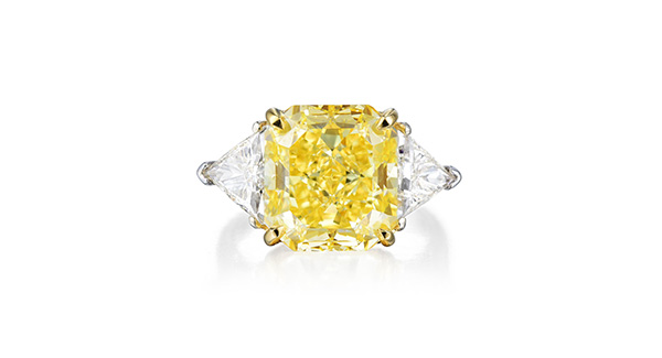 7.65ct Fancy Vivid Yellow Diamond Ring