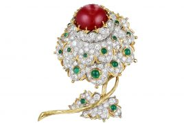 Cartier Coral, Diamond & Emerald Flower Brooch