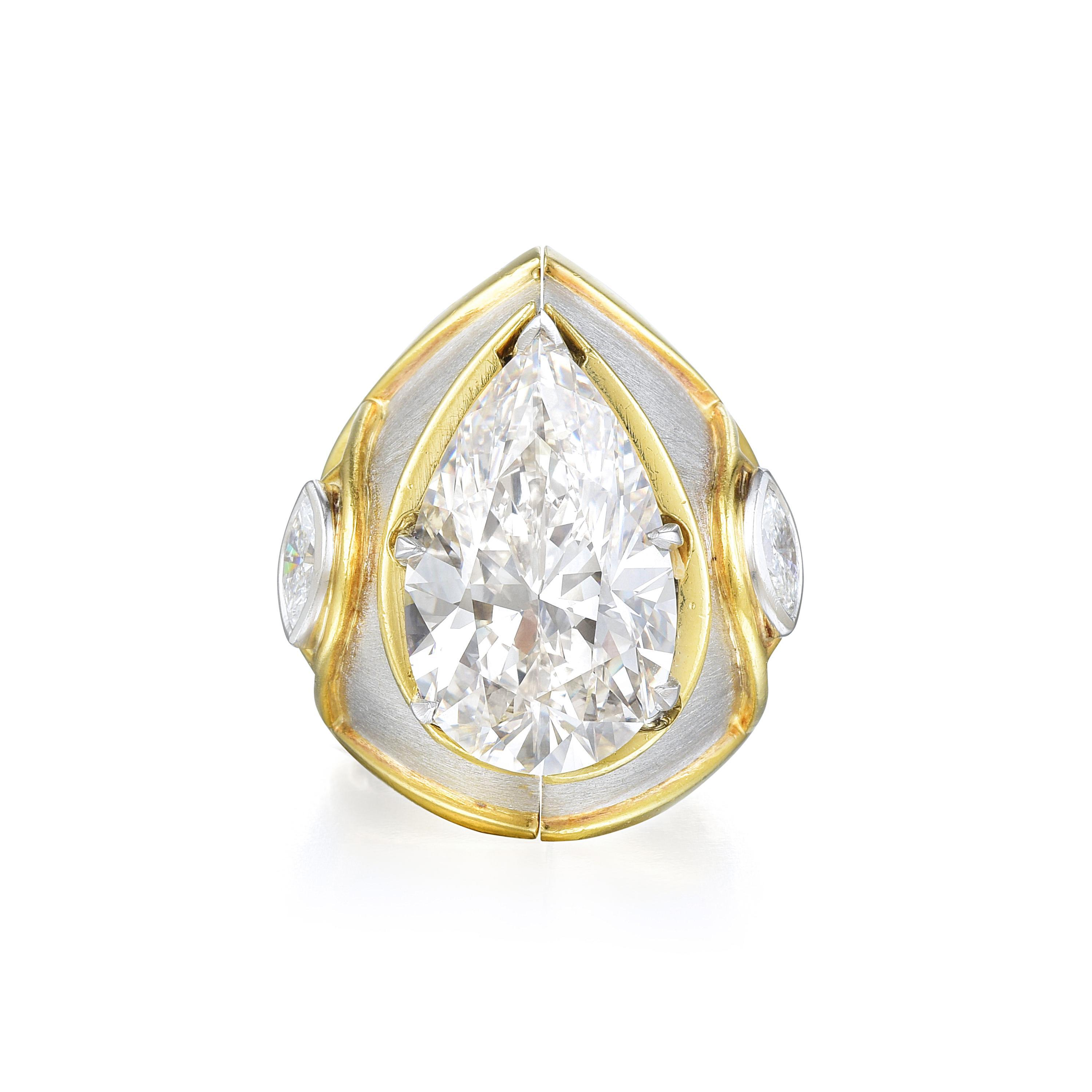 10.87ct Pear-Shaped Diamond Ring & Jacket