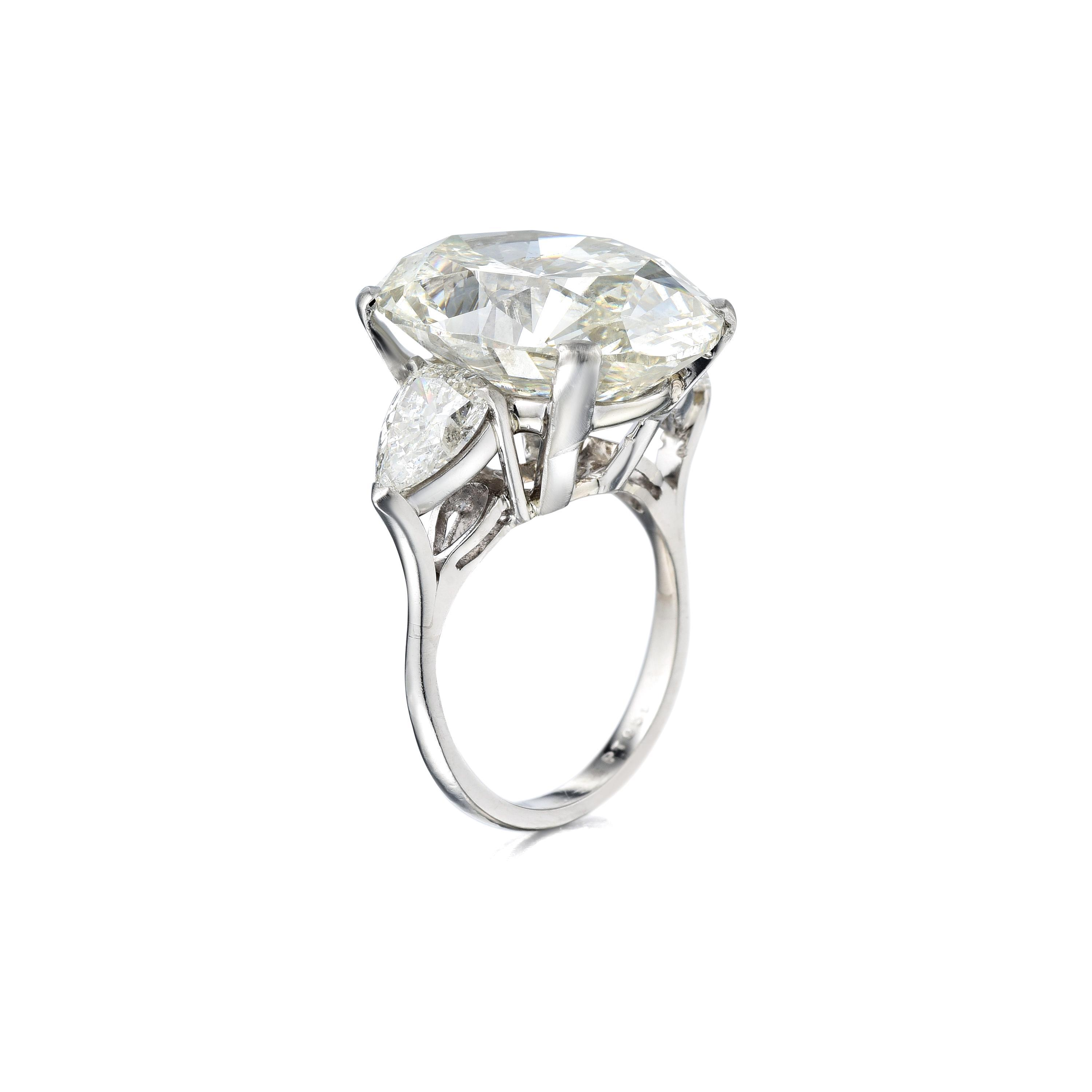 A 17.13ct Oval-Cut Diamond Ring