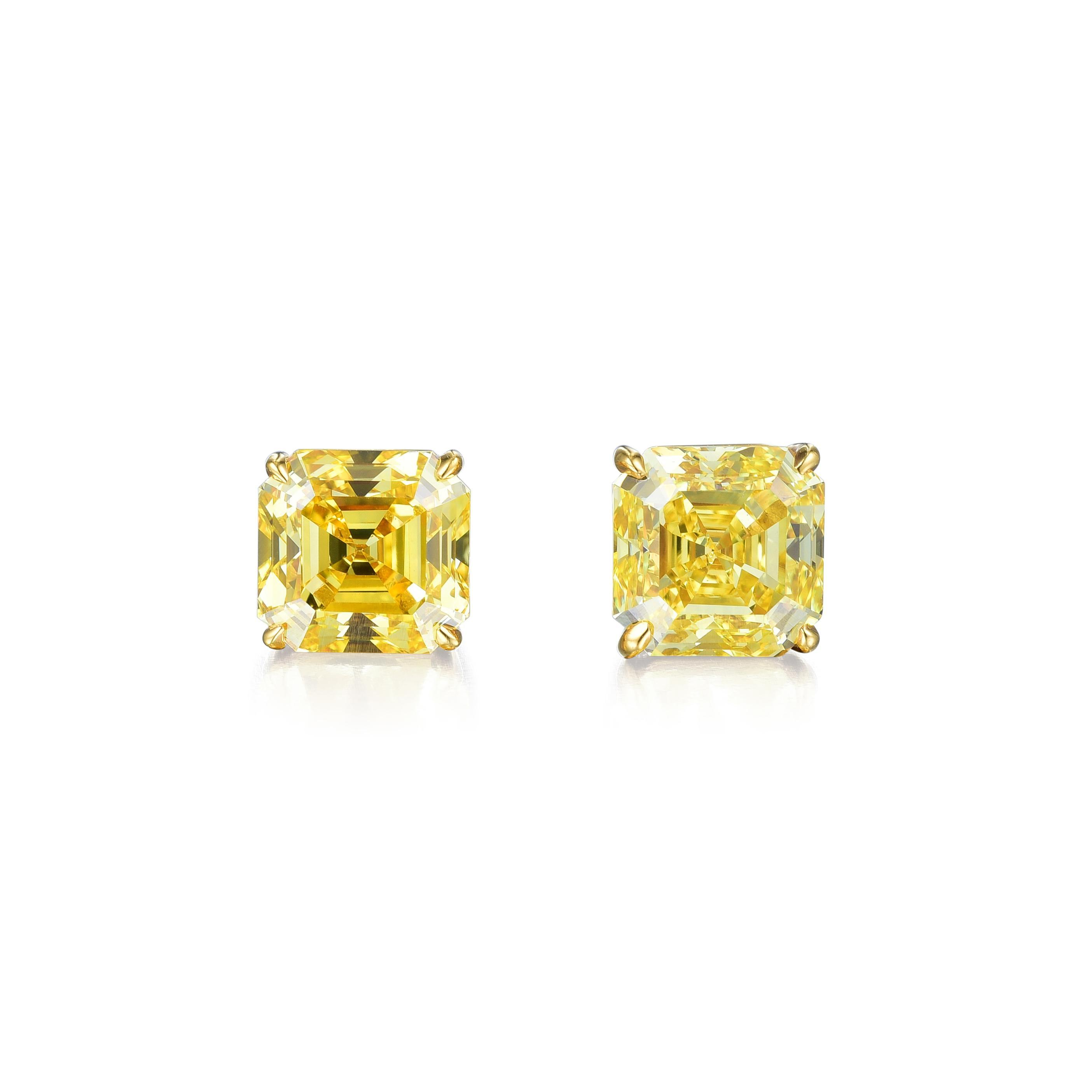 Fancy Vivid Yellow Diamond Studs