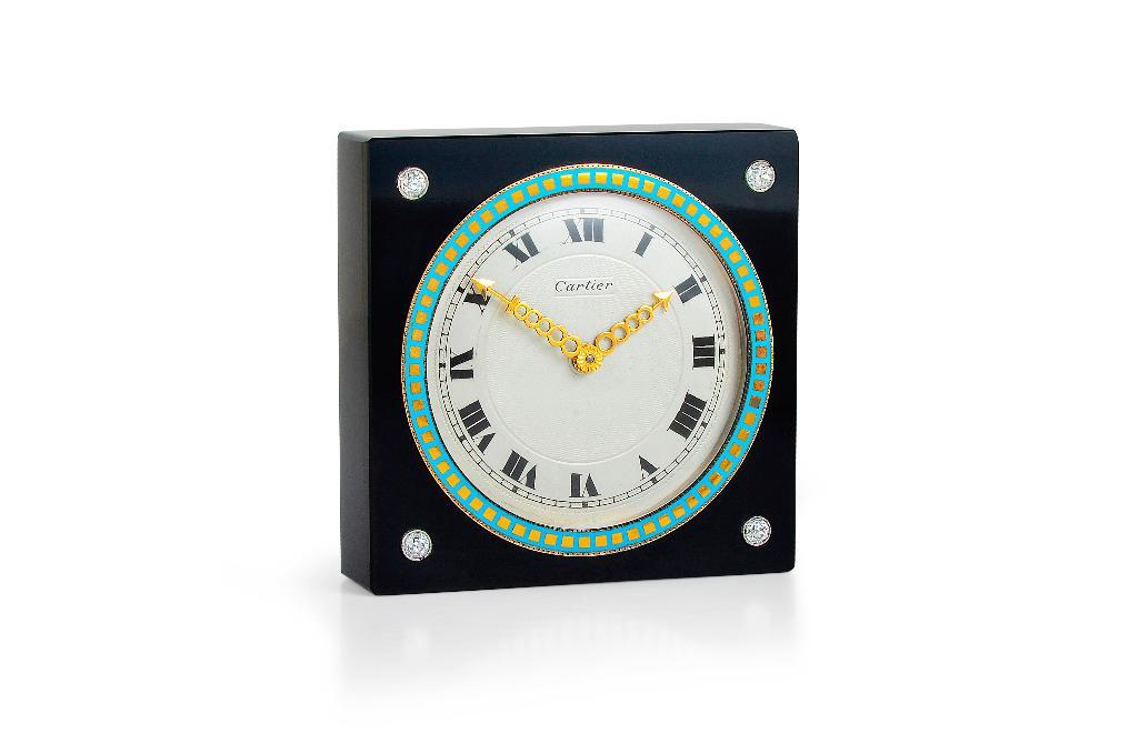 Art Deco Cartier Onyx Diamond Gold and Enamel Clock