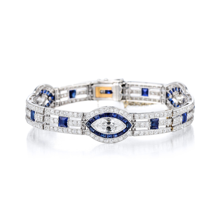Art Deco Cartier Sapphire Diamond Bracelet