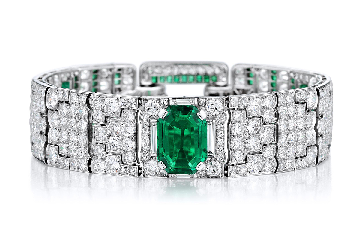Cartier Art Deco Emerald Diamond Bracelet