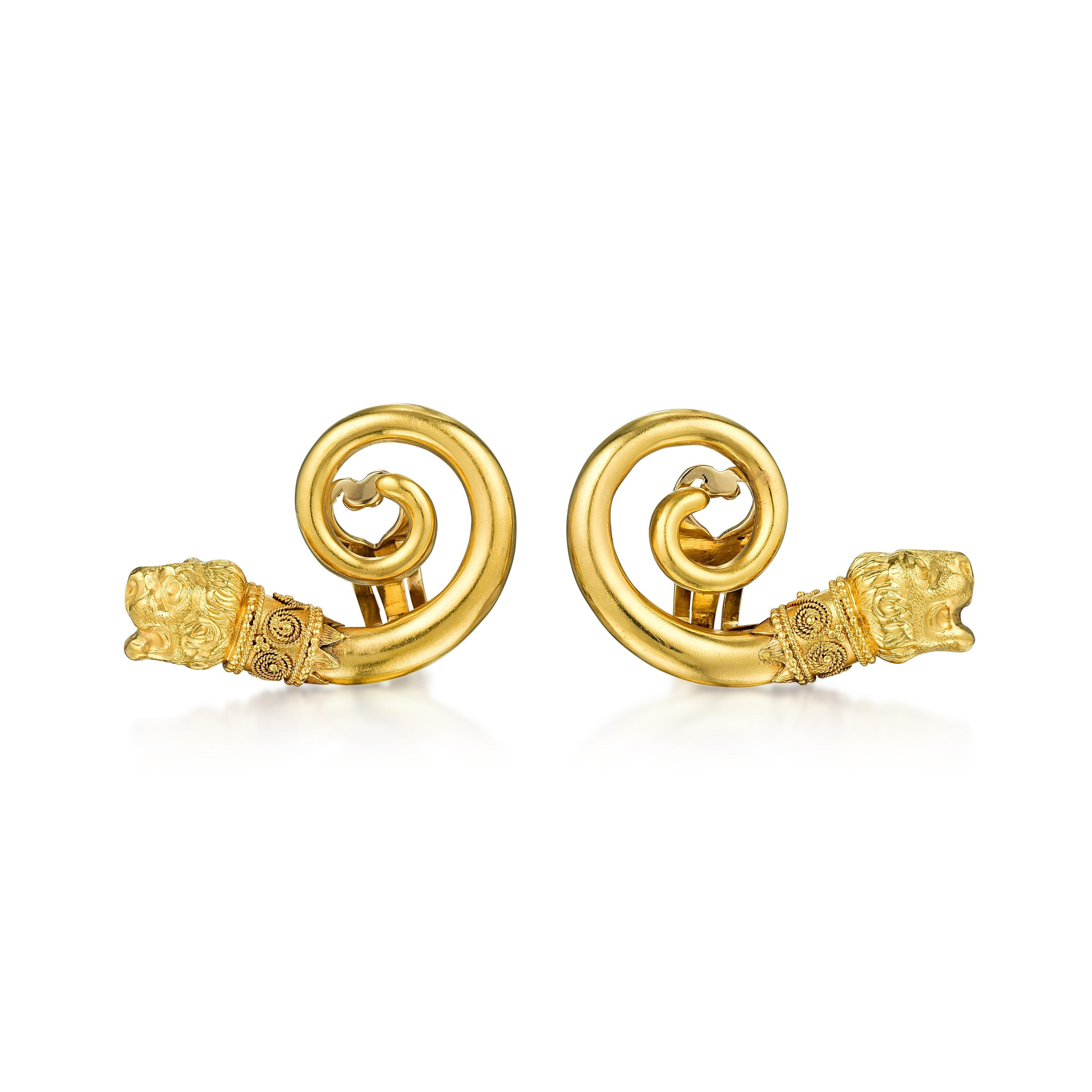 Lalaounis Gold Earclips- Fortuna Auction NYC