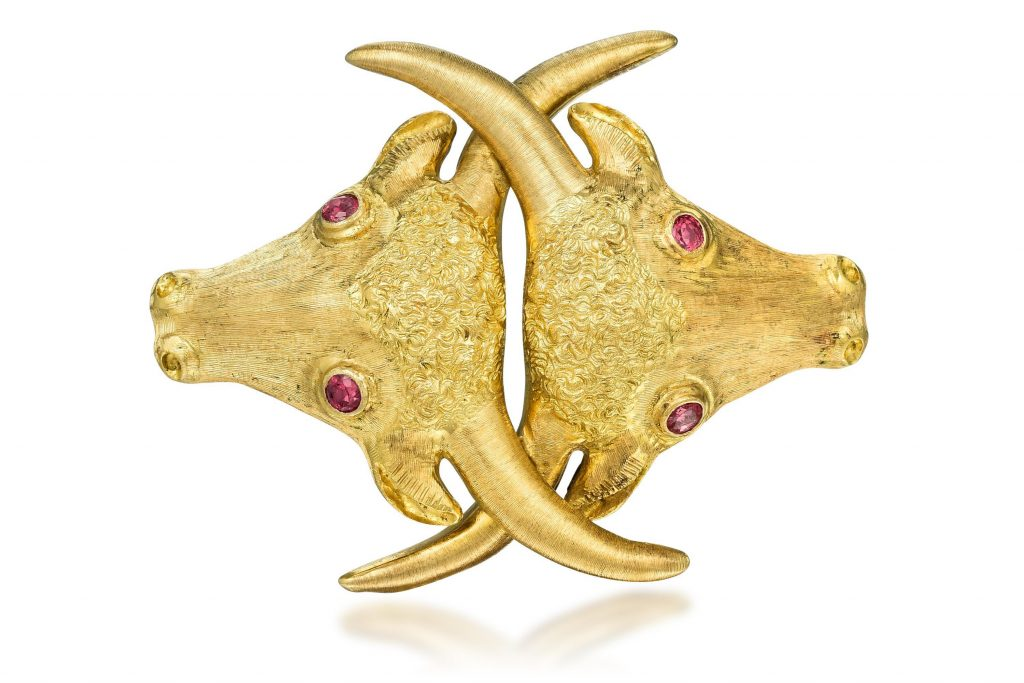 Ilias Lalaounis Gold Bull Brooch- Fortuna Auction NYC