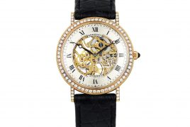 BREGUET 18K GOLD DIAMOND SKELETON WATCH