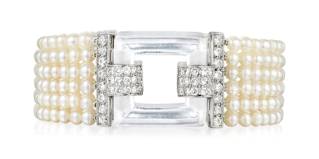 Art Deco Cartier Pearl and Diamond Bracelet - Fortuna Fine Jewels Post-Sale Results