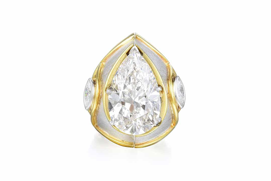 10.87ct Pear-Shaped Diamond Ring & Jacket