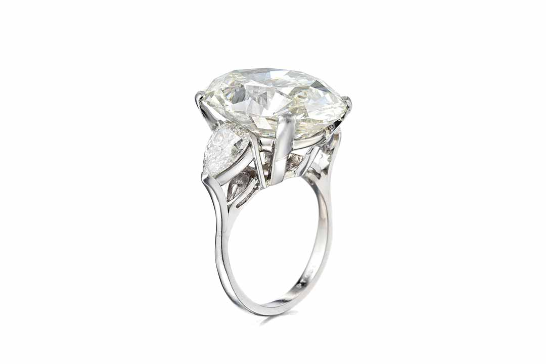 A 17.13ct Oval-Cut Diamond Ring
