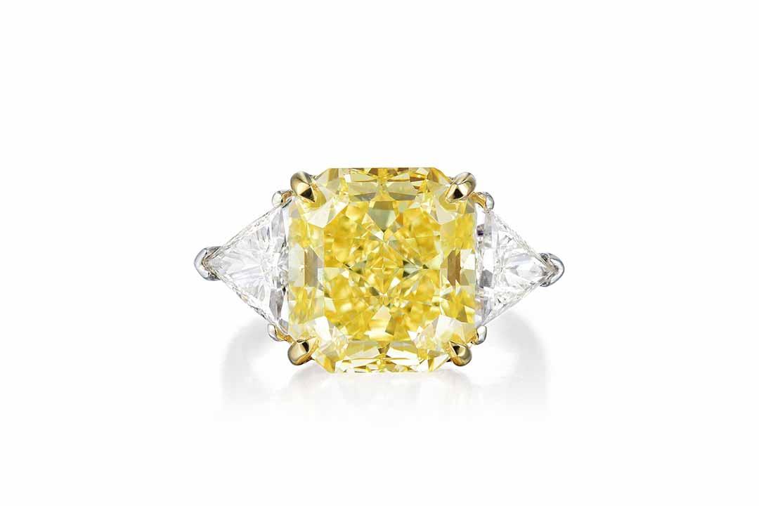 7.65ct Fancy Vivid Yellow Diamond Ring