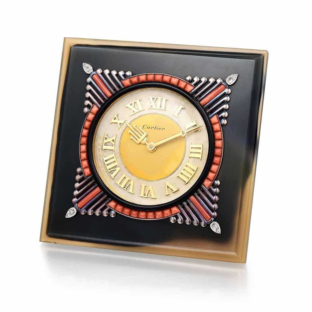 Art Deco Cartier Agate Desk Clock