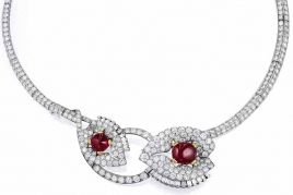 Art Deco Cartier Diamond, Ruby Necklace/Brooch Set