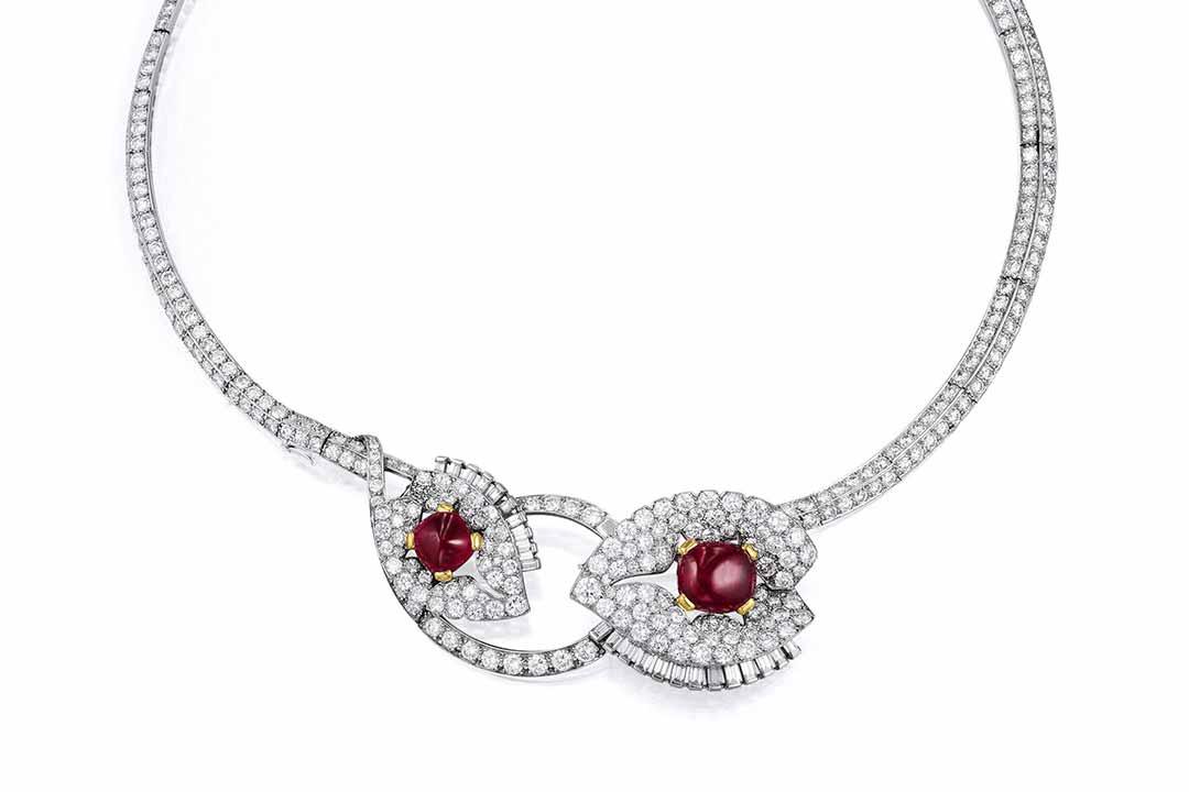 Art Deco Cartier Diamond, Ruby Necklace/Brooch Set