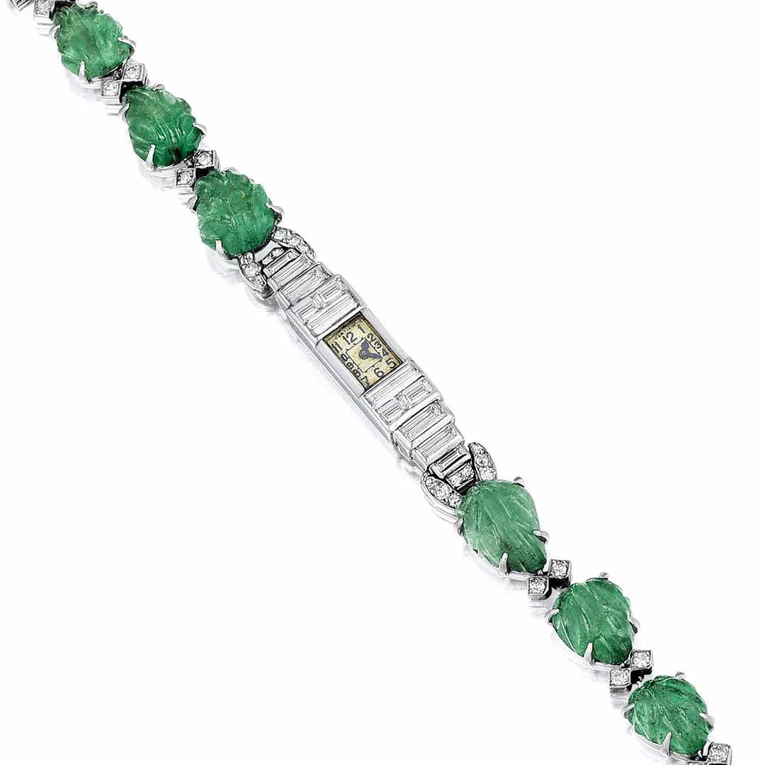 Art Deco Cartier Emerald and Diamond Platinum Dress Watch