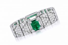 Art Deco Cartier Emerald Diamond Bracelet