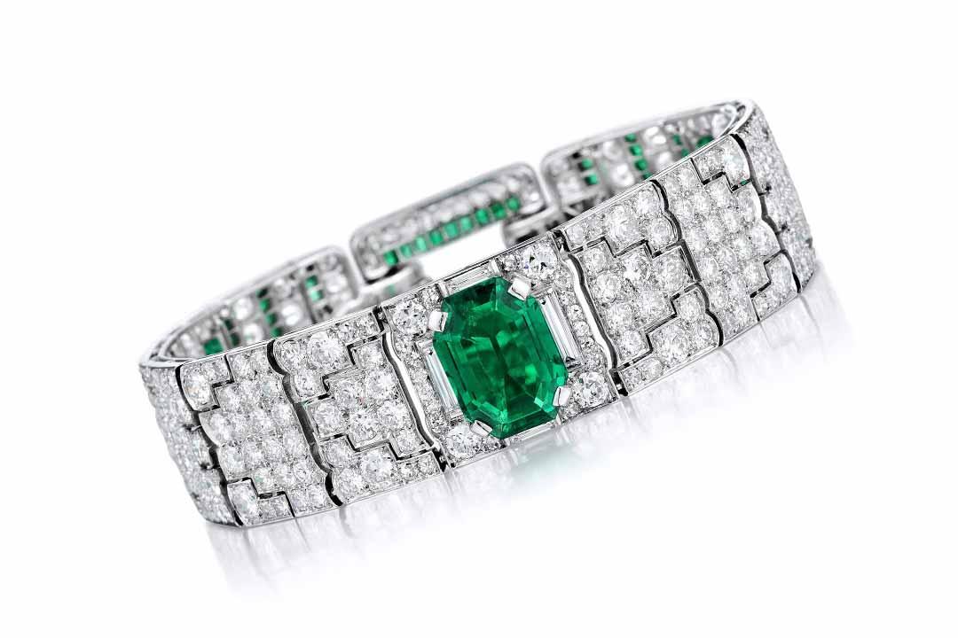 Art Deco Cartier Emerald Diamond Bracelet