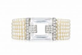Art Deco Cartier Natural Pearl, Diamond Bracelet