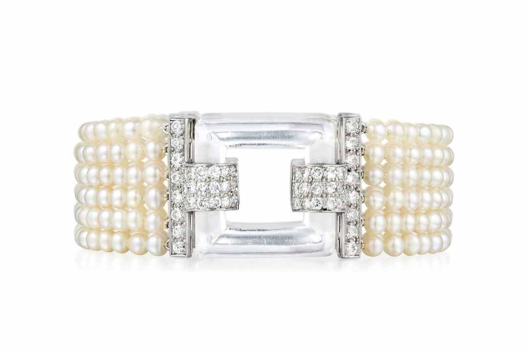Art Deco Cartier Natural Pearl, Diamond Bracelet