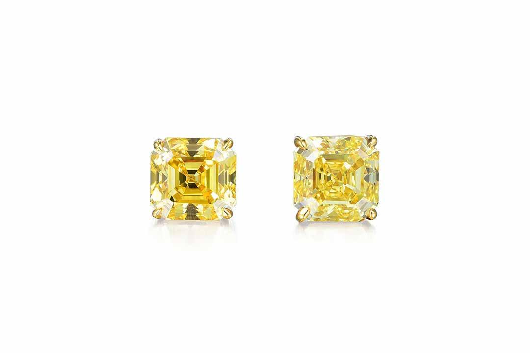 Fancy Vivid Yellow Diamond Studs