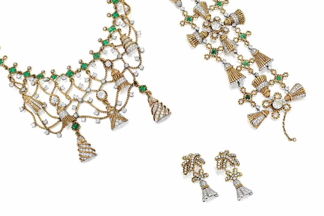 Schlumberger Emerald Diamond Tassel Suite