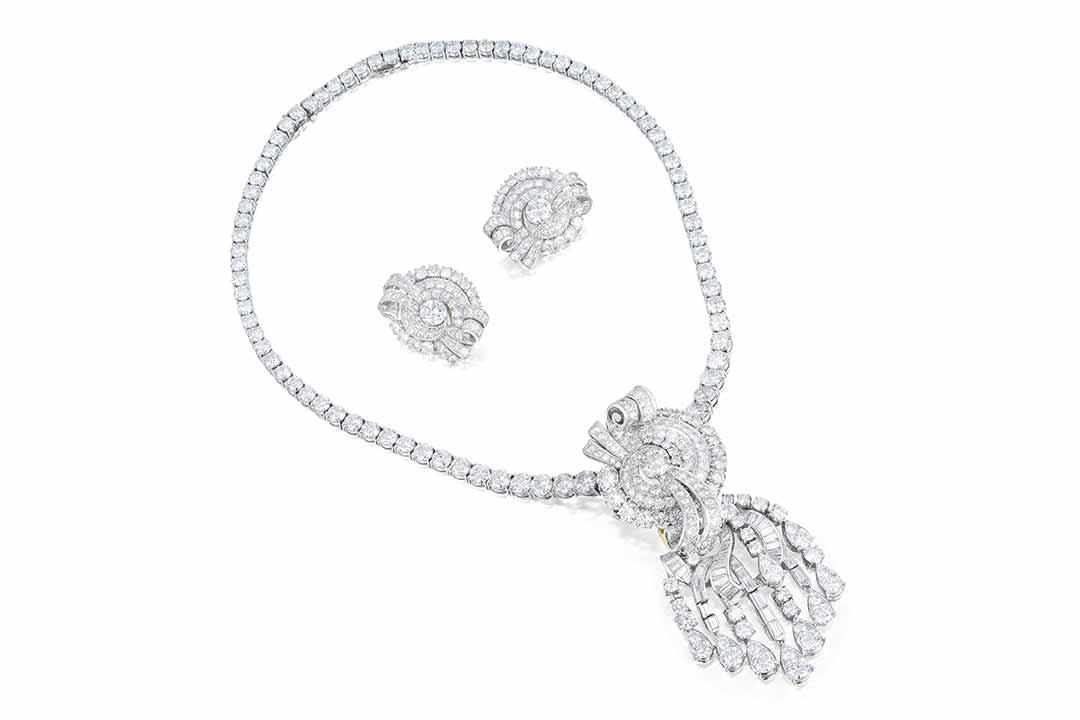A 1950s Diamond Necklace & Earrings