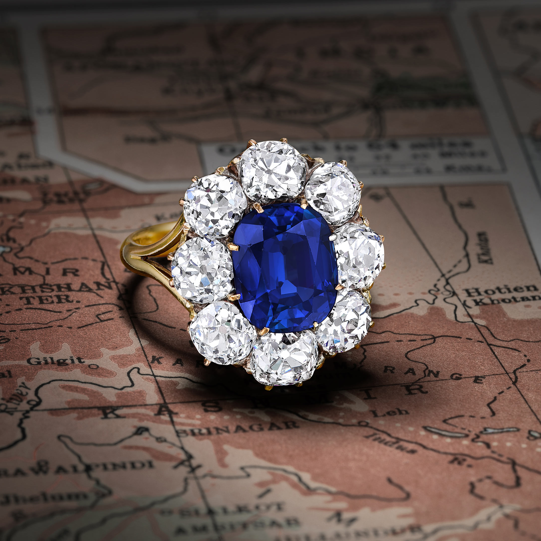 Victorian Kashmir Sapphire and Diamond Ring - Fortuna NYC Fine Jewelry & Watch Auction