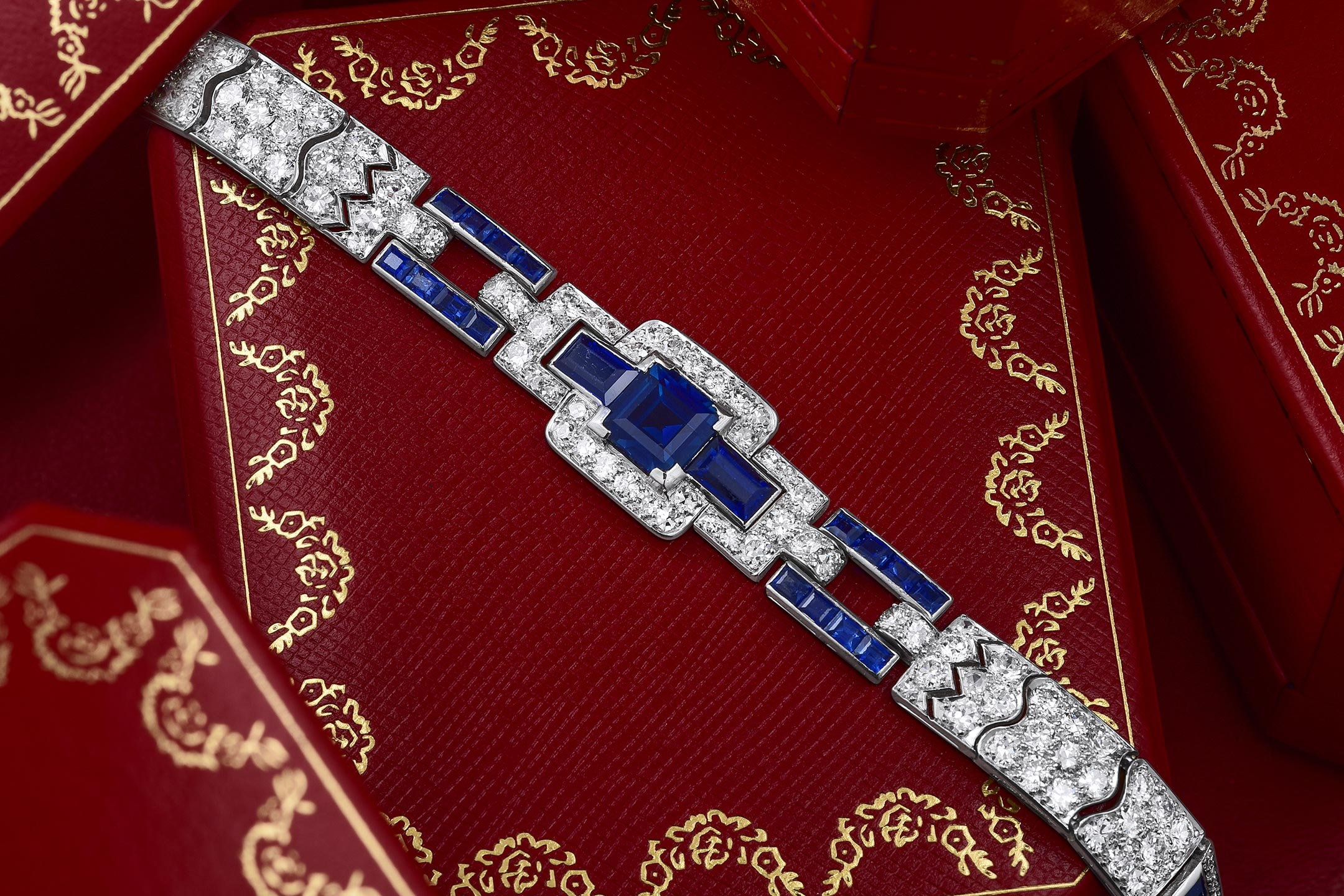 Art Deco Cartier Sapphire and Diamond Bracelet - Fortuna Fine Jewelry & Watch Auction NYC