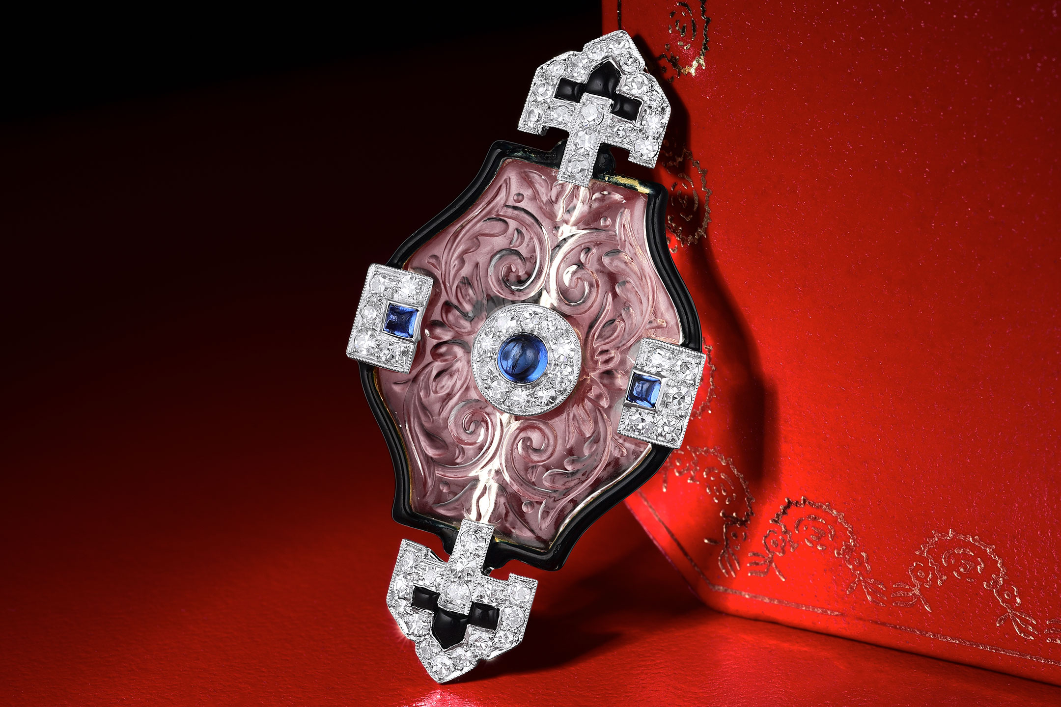 2019MAR Fortuna Exchange - Art Deco Cartier Sapphire Crystal and Diamond Pin