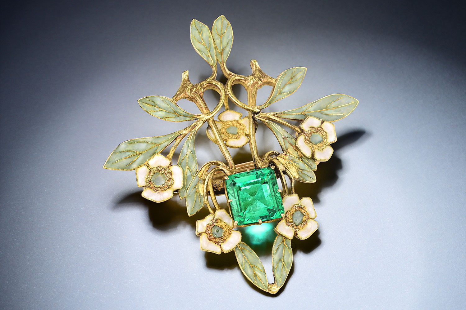 Art Nouveau Lalique Emerald Enamel Pin - Fortuna Exchange Monthly Jewelry & Watch Auction