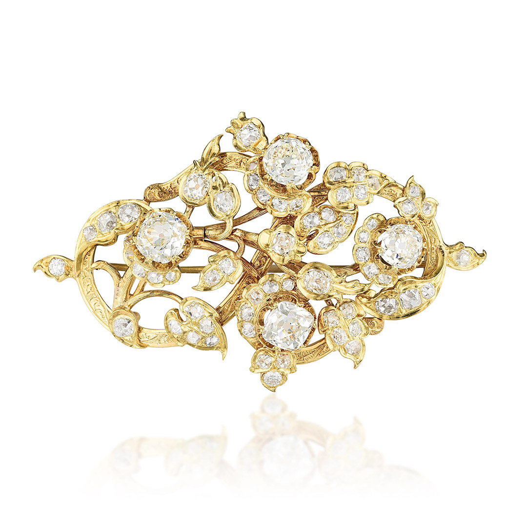 Antique Gold Diamond Brooch - Fortuna Exchange Monthly Jewelry Auction