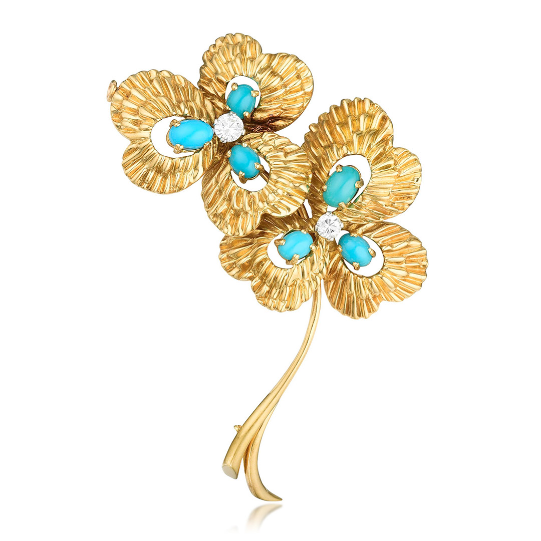 Van Cleef & Arpels Turquoise and Diamond Flower Pin - Fortuna Exchange Monthly Jewelry Auction NYC