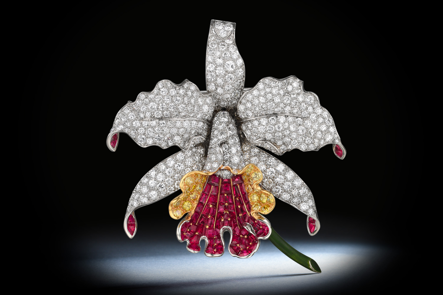 Oscar Heyman Orchid Diamond and Ruby Brooch - Fortuna NYC Fine Jewelry Auction